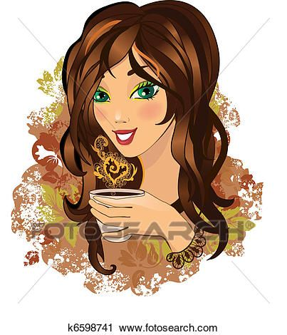 Young female drinking hot coffee Clipart.