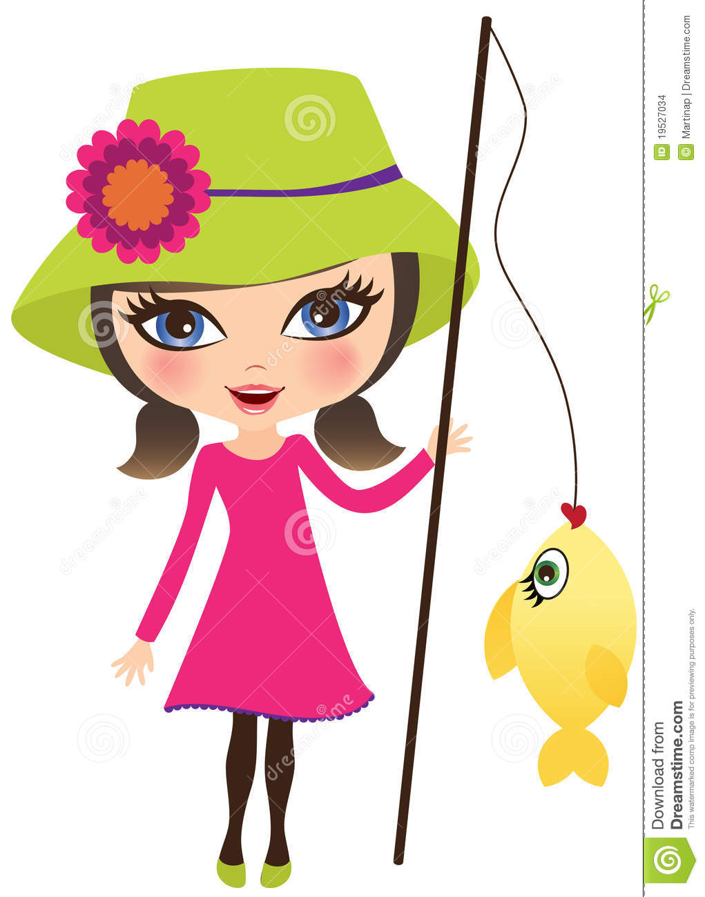 Girl Fishing Clipart.