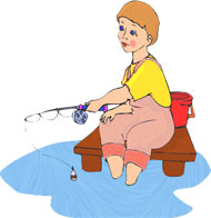 Free clipart woman fishing.
