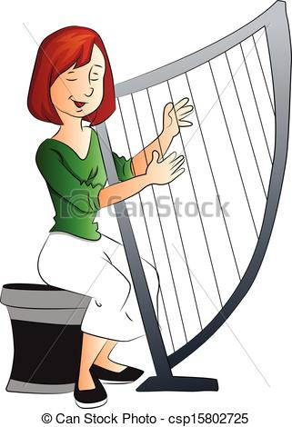 Vector Illustration of Vector of woman playing harp..