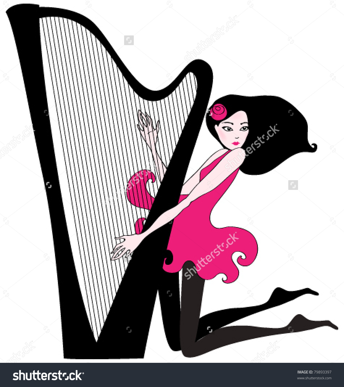 Vector Hand Drawn Style Illustration Of Beautiful Woman Playing A.