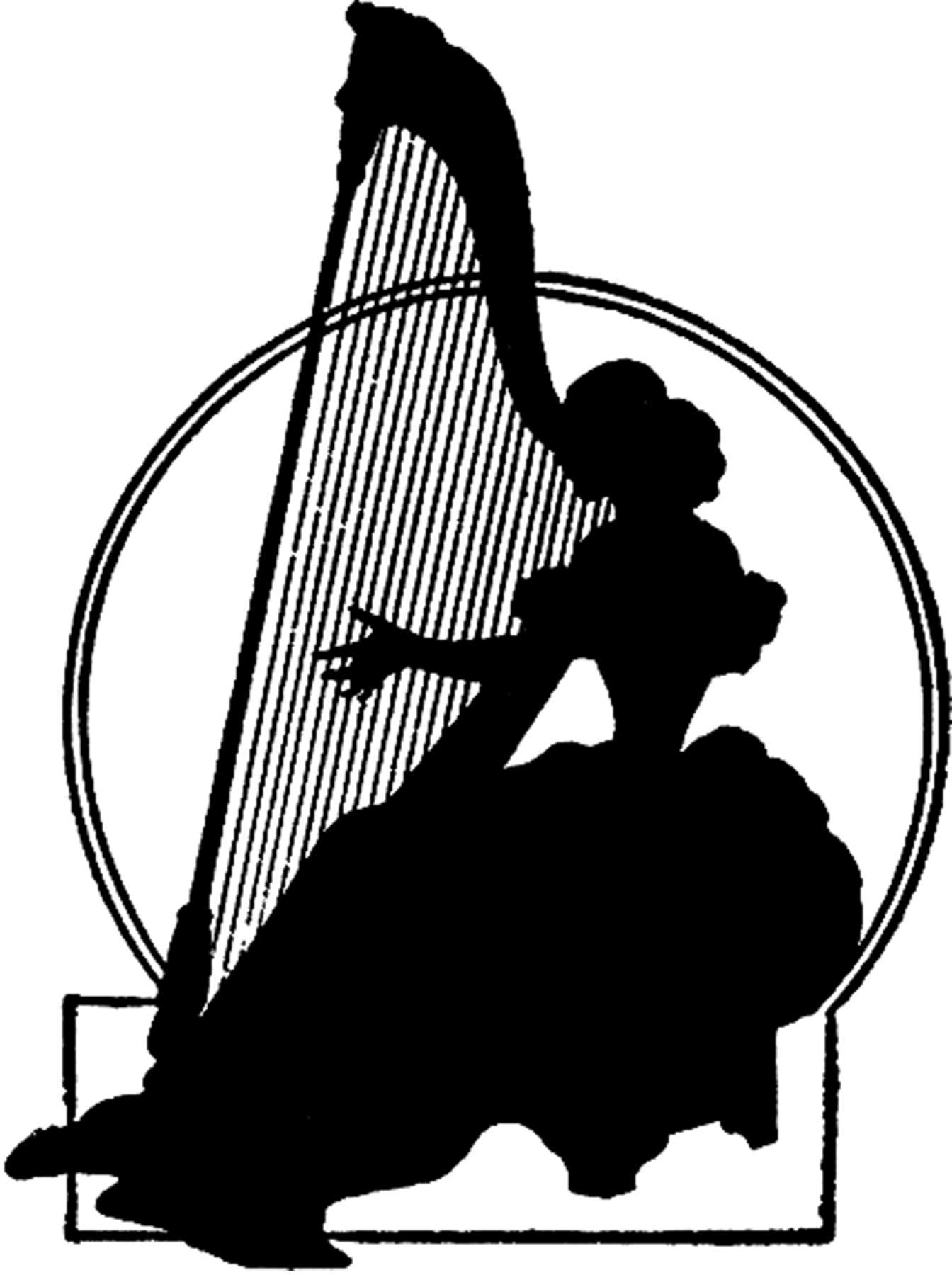 Vintage Harp Lady Silhouette.