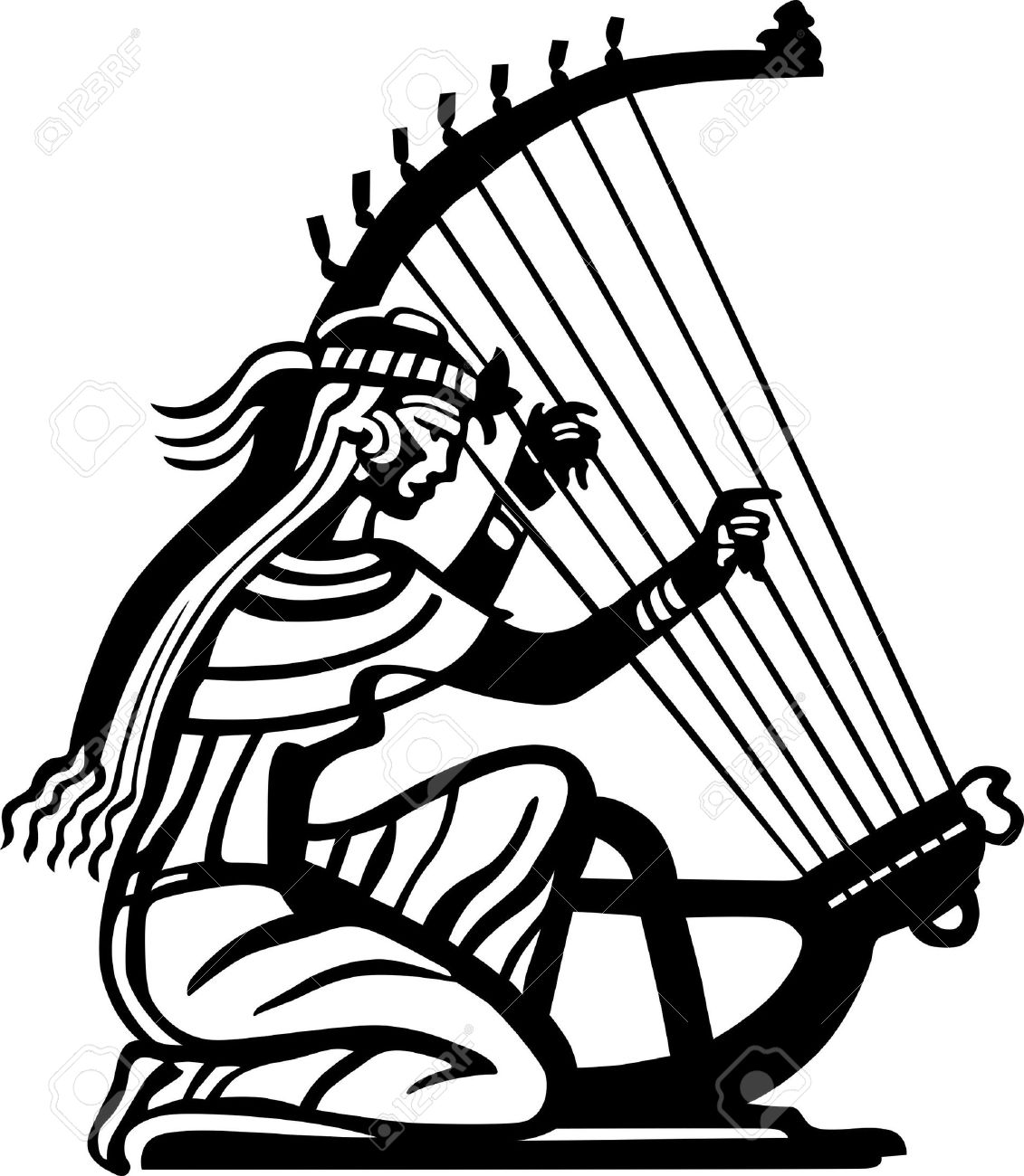 Ancient Woman Playing The Harp Royalty Free Cliparts, Vectors, And.