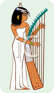 Cartoon of an Egyptian Woman Playing a Harp.