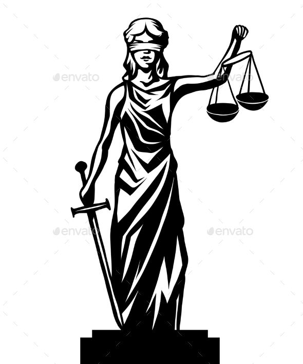 Femida lady justice,graphic vector illustration.