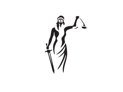 black and white lady justice.