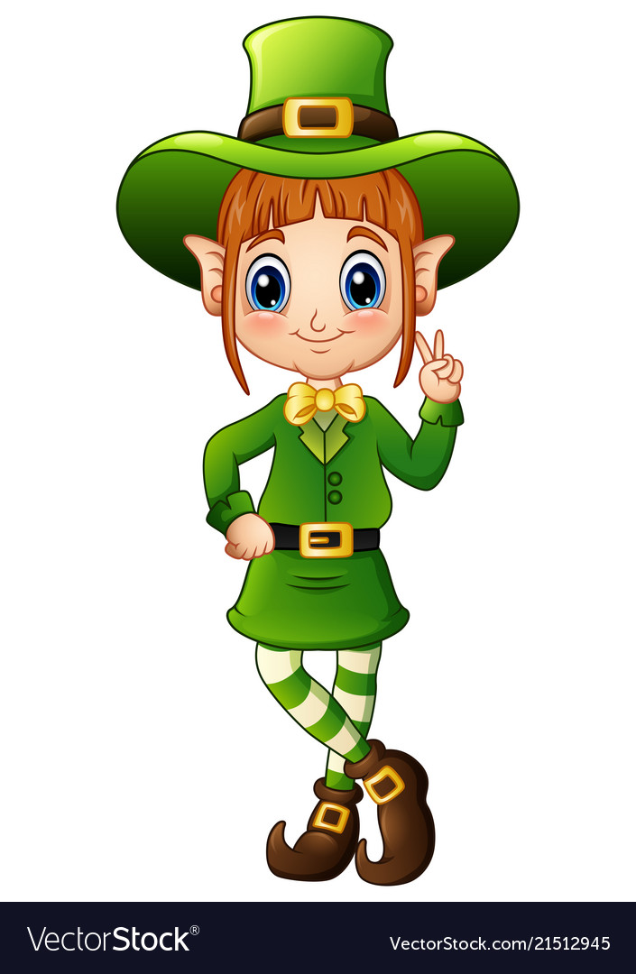 Cartoon girl leprechaun peace hand gesture.
