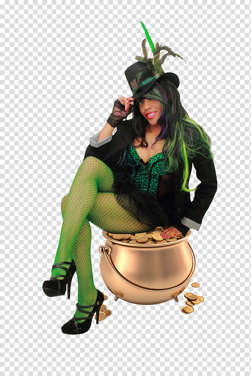 Lady Luck Sitting on Gold Pot Pre Cut transparent background.
