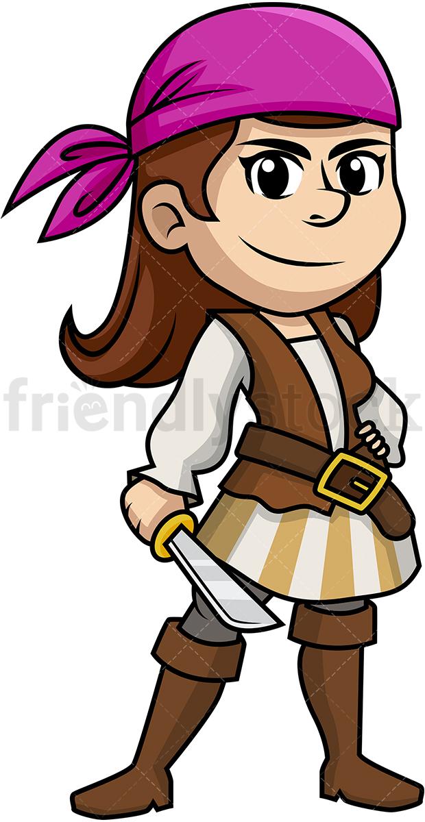 Female Pirate Holding A Sword.