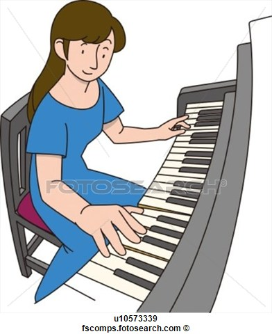 Woman Playing Piano Clipart.