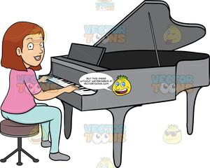 A Woman Smiles While Playing The Piano.