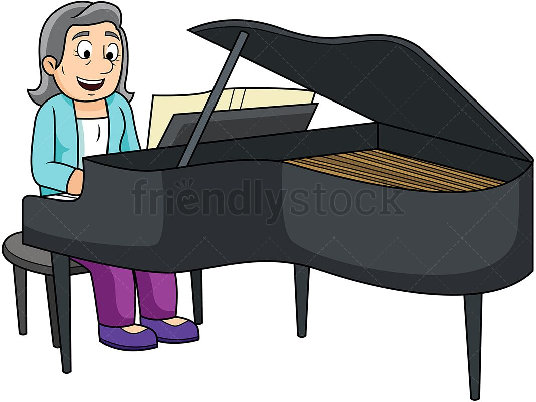 Old Woman Playing The Piano.