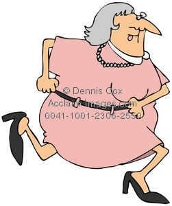 Clipart Illustration: Frightened Old Woman Running.