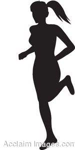 Clip Art Silhouette of a Woman Running.