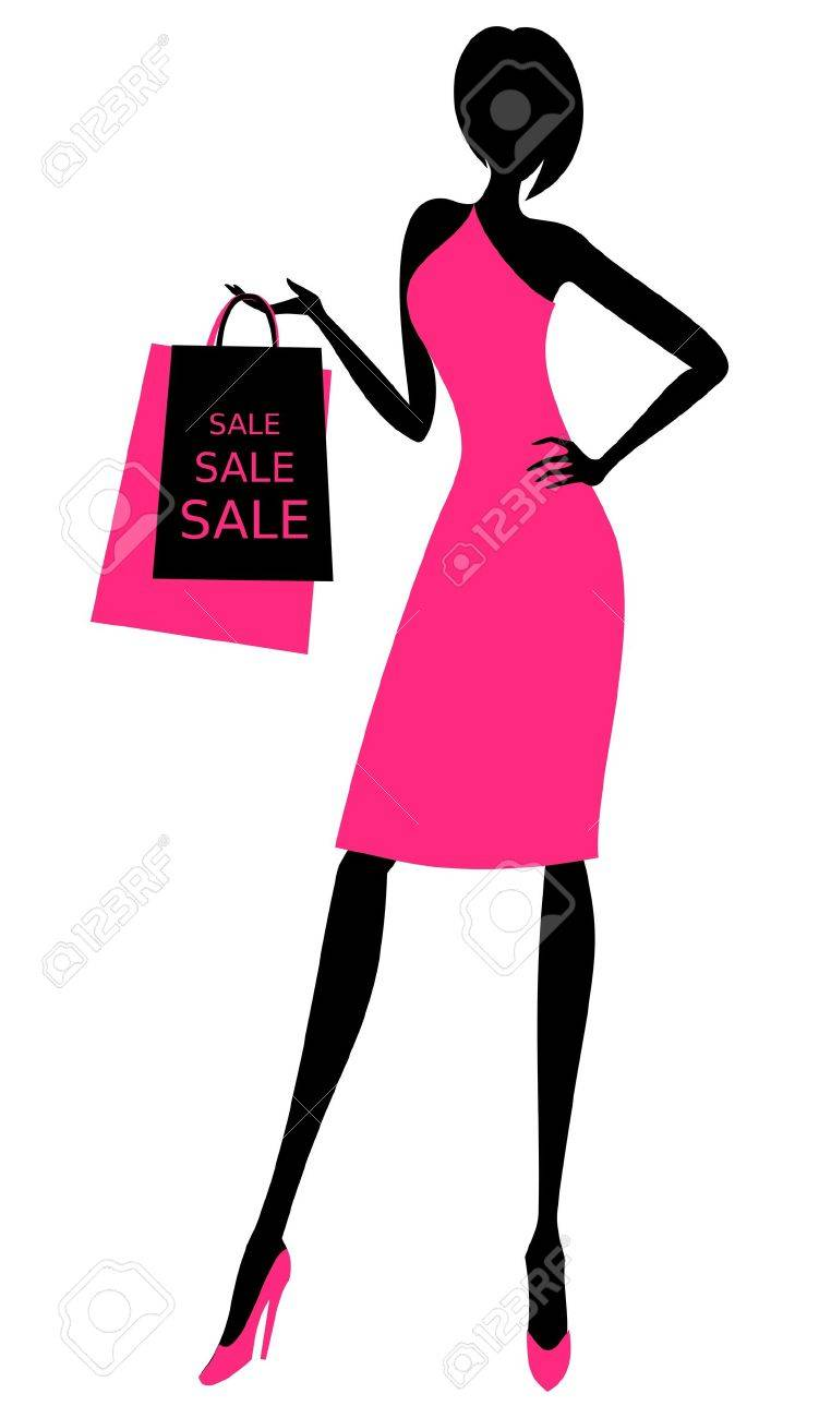Illustration of a young elegant woman holding shopping bags.