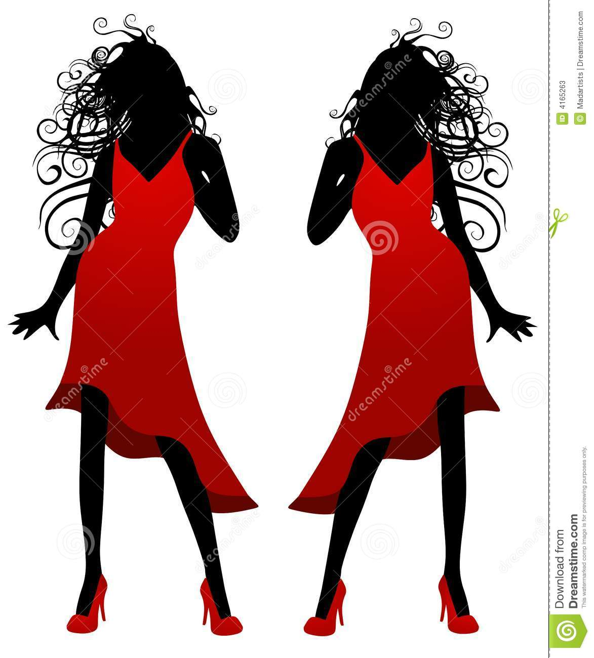 Lady In Red Dress Silhouette Stock Vector.