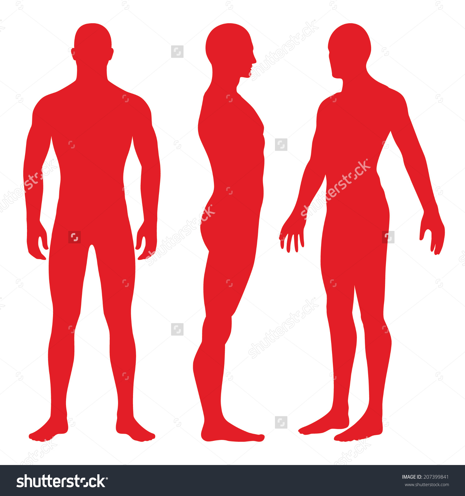 Set Silhouettes Standing Naked Man Woman Stock Vector 207399841.