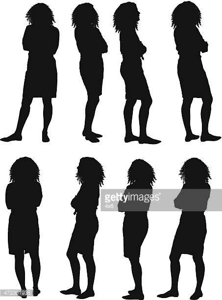 Multiple Silhouettes Of A Woman With Hands In Pockets Vector Art.
