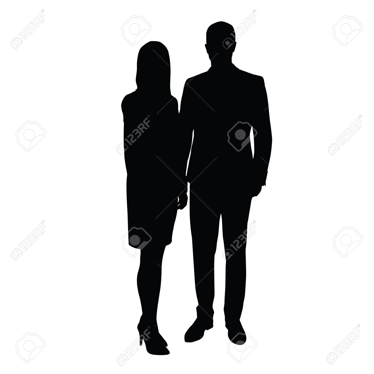 Man And Woman In Formal Wear Standing Side By Side. Silhouette.