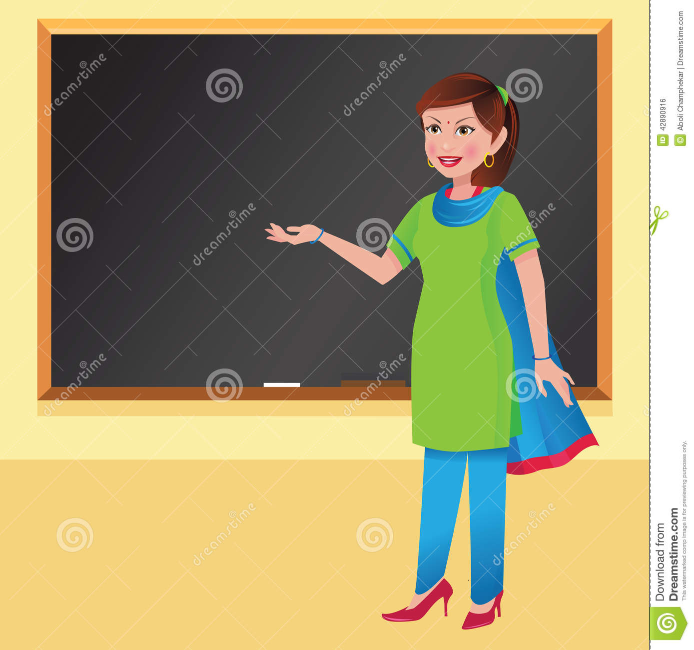 Indian School Teacher Clipart.