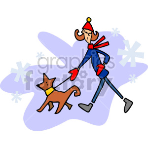 lady walking her dog in the winter clipart. Royalty.