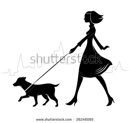 Woman Walking Dog Stock Images, Royalty.