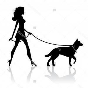 Hd Stock Vector Silhouette Of A Woman Walking A Dog Image.