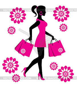 Lady With Shopping Bags Clip Art.