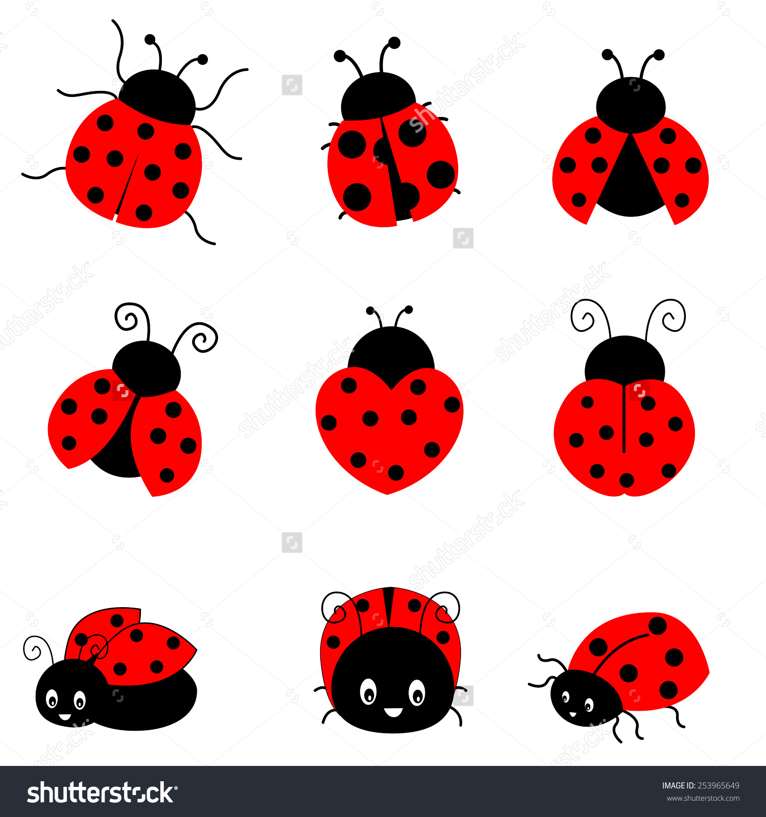 Cute Colorful Ladybugs Clip Art Collection Stock Vector 253965649.