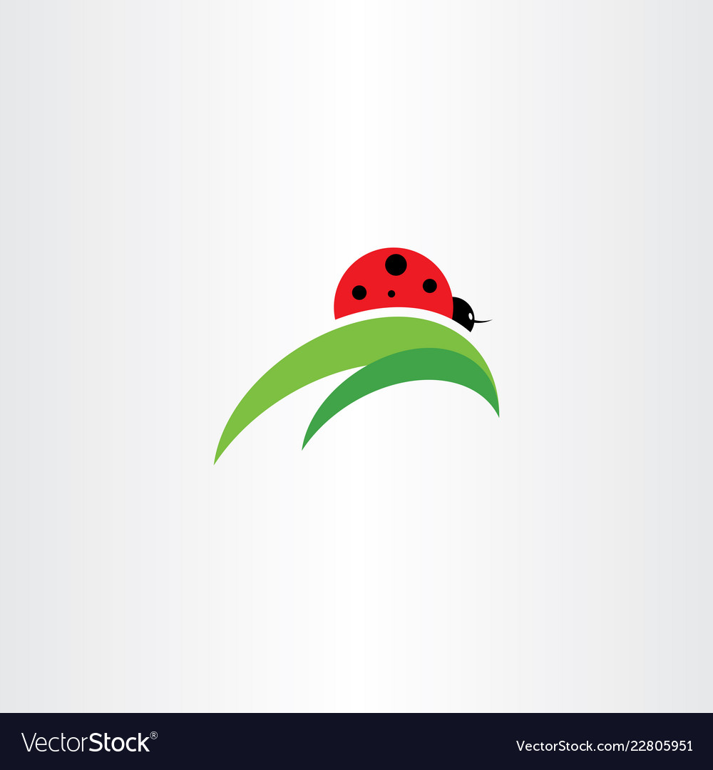 Ladybug on leaf logo icon.
