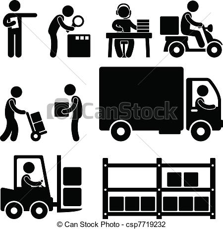 Vector Illustration of Logistic Warehouse Delivery Icon.