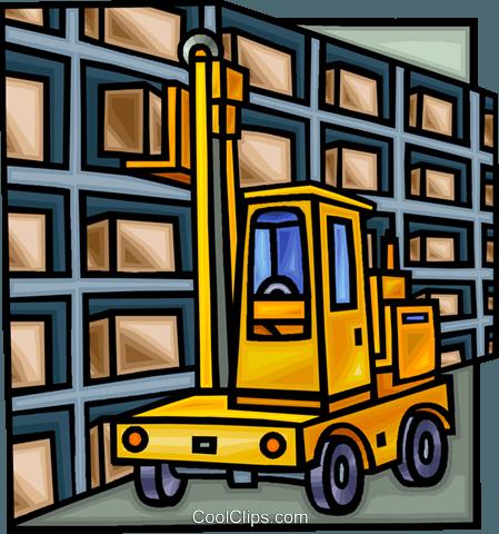 Gabelstapler in einer Lagerhalle Vektor Clipart Bild.
