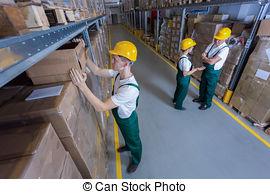 Stock Foto von lager, Arbeiter, Uniformen, zwei.
