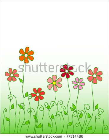 Fantasy Spring Flowers Growing Vector Illustration Stock.