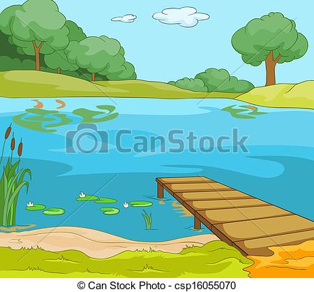 Vectors Illustration of Lake Shore. Cartoon Background. Vector.