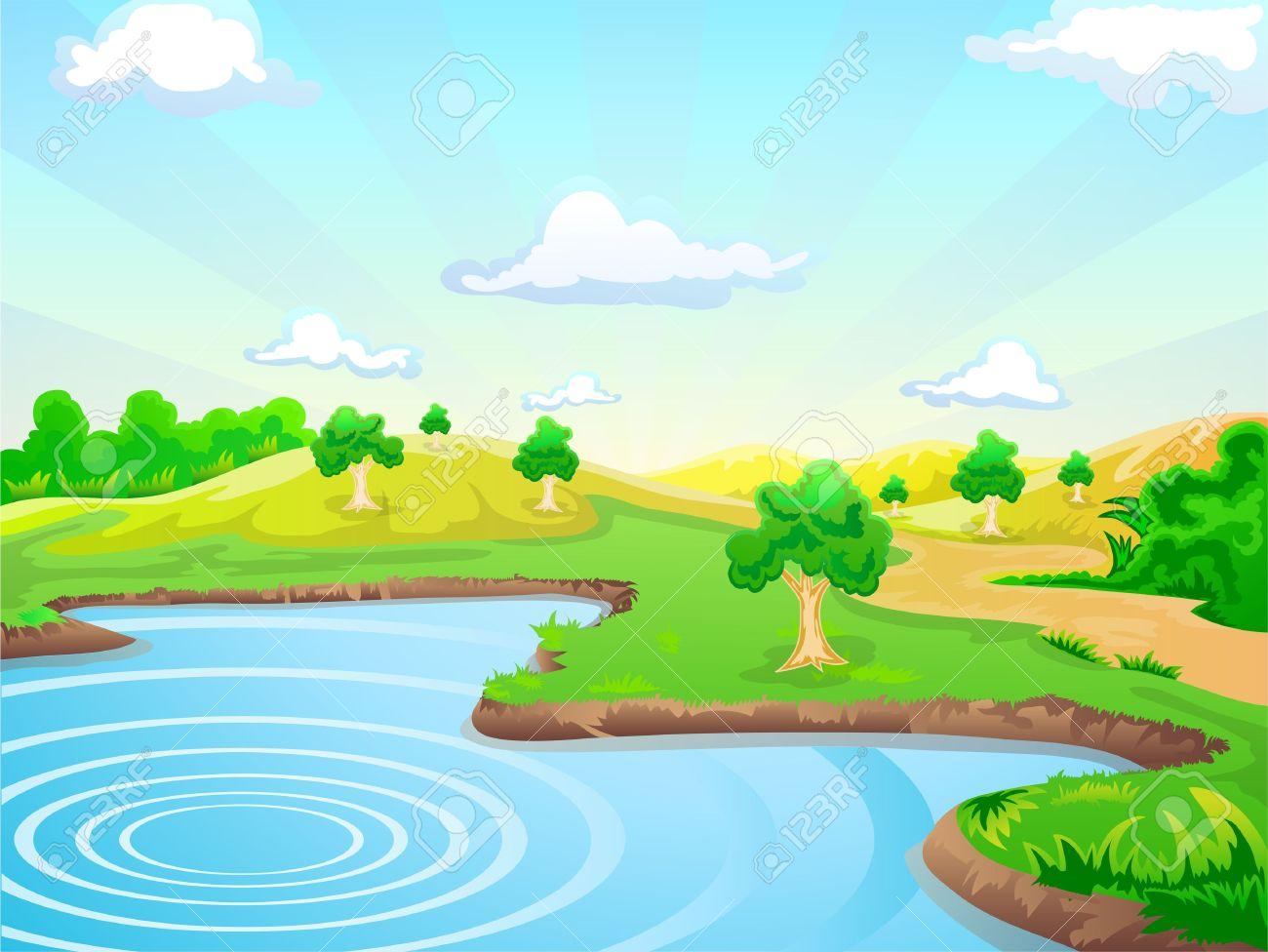 Fondo De Paisaje Natural Con Un Lago Ilustraciones Vectoriales.