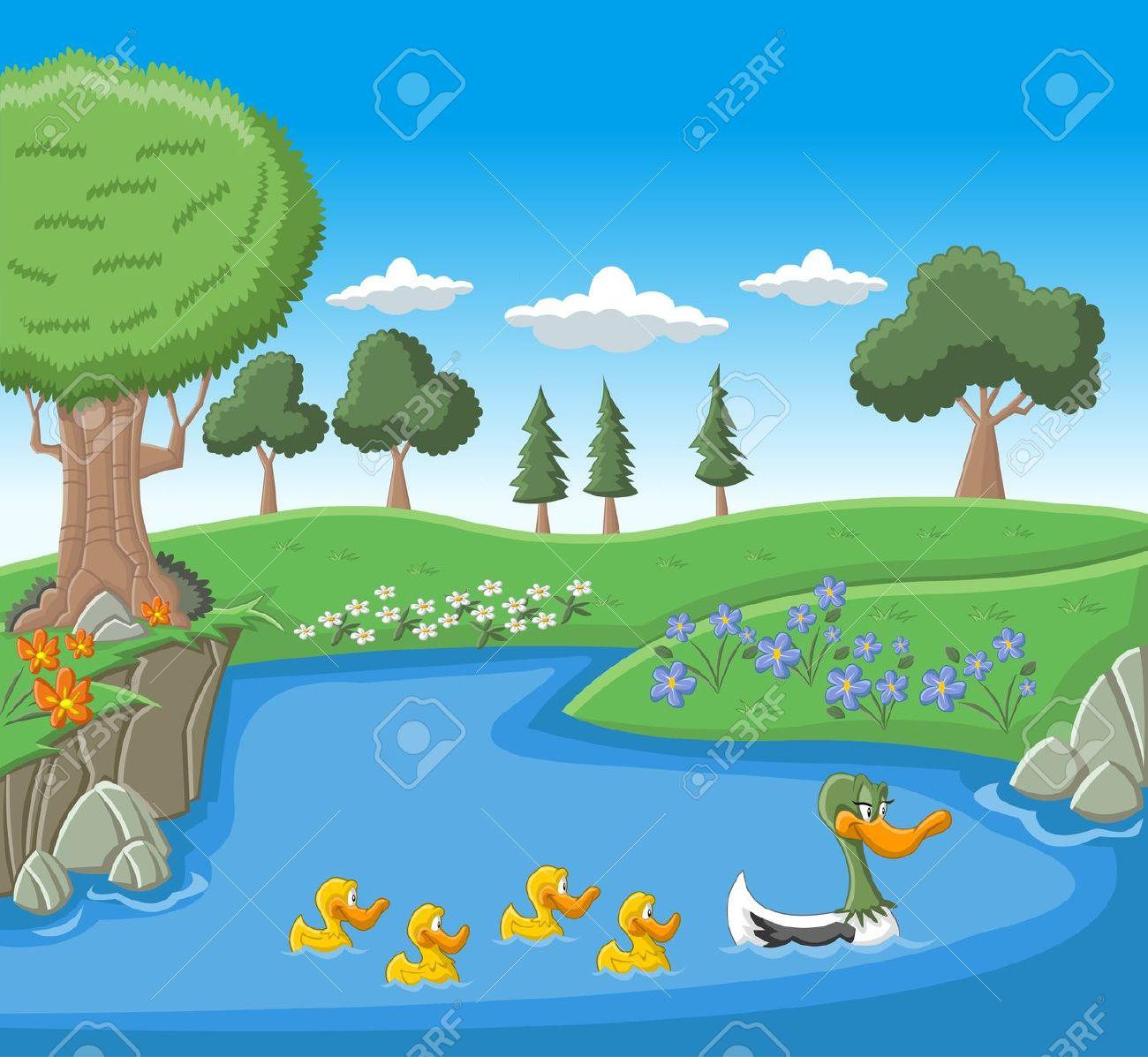 Un'anatra Nuoto Madre Con I Suoi Anatroccoli In Lago Blu Clipart.