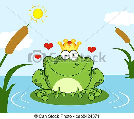 Vector Clip Art of Frog Prince On A Leaf In Lake.