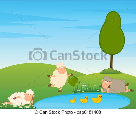 Vector of Cartoon funny sheep on country landscape with tree and.