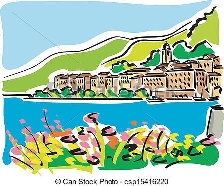 Vector Illustration of Lake Como.