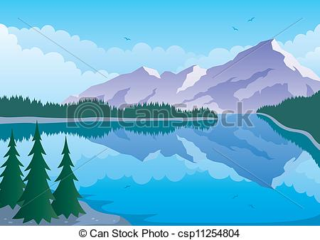Mountain Lake Clip Art.