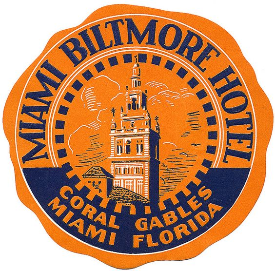 Miami Biltmore Hotel by Art of the Luggage Label, via Flickr.