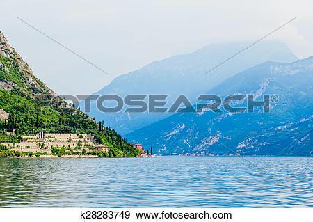 Stock Photograph of Lago di Garda. view of the lake Garda . North.