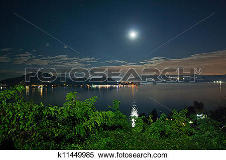 Stock Image of lago Maggiore by Night k11449985.