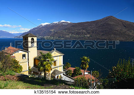 Stock Photo of Church of San Bartolomeo at Lago Maggiore k13515154.