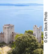 Stock Photos of Lago Trasimeno (Umbria) Panorama at Castiglione.