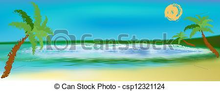 Clip Art of Sea lagoon landscape.