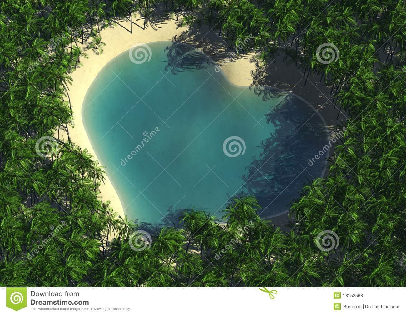 Heart Shape Lagoon Royalty Free Stock Photos.