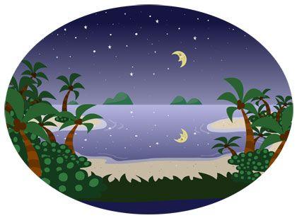 cartoon moon and lagoon clip art illustration.