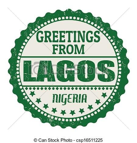Vector Illustration of Greetings from Lagos label.
